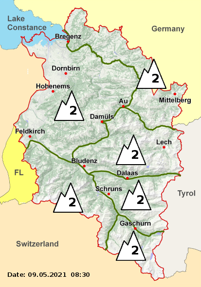 Regional danger levels